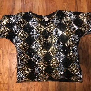 Vintage sequins blouse M sweater top
